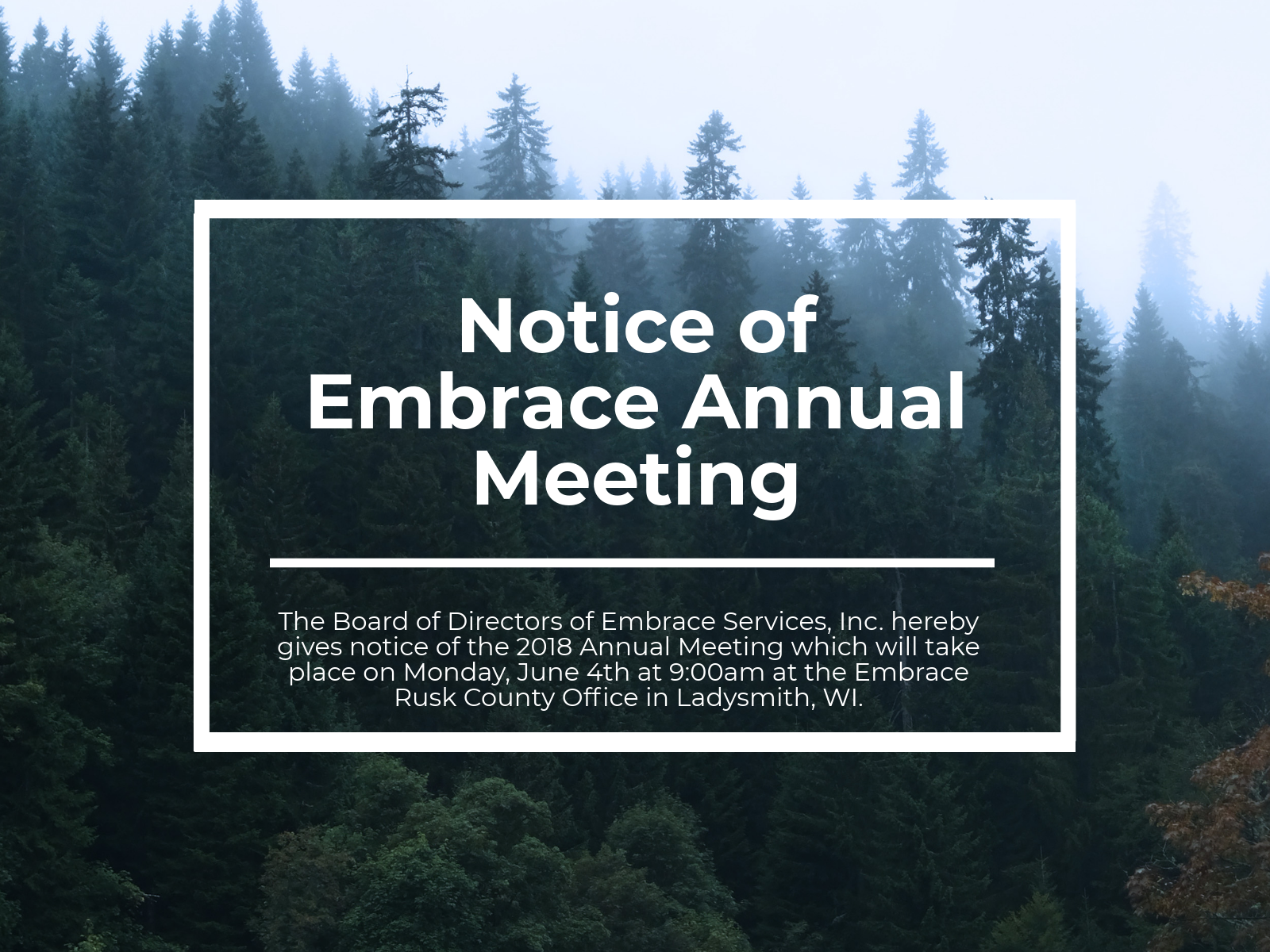 2018 Annual Board Meeting Notice
